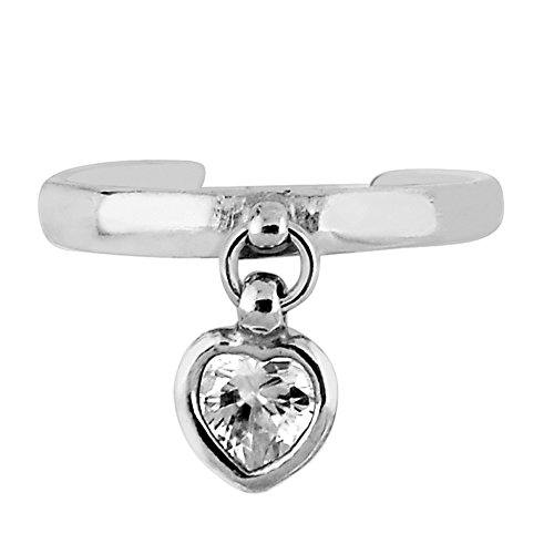 Sterling Silver Dangle Heart Cubic Zirconia Adjustable Toe Ring Body Art