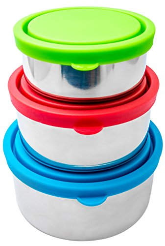 Bruntmor Trio Nesting 18/8 Stainless Steel Food Containers with Leak-Proof Lids, Set of 3 (Snack Steel Stainless Containers)