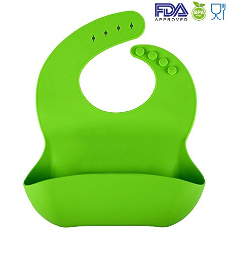 Silicon Baby Bibs FDA Approved Best Waterproof Soft Comfortable Dishwasher Safe With Food Catcher Pocket Snaps Bib (Green)