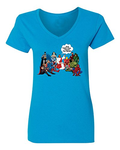 King Womens Light T-shirt - KING THREADS Jesus and Superheroes That's How I Saved The World Christian Funny Womens Vneck T-Shirt Light Blue