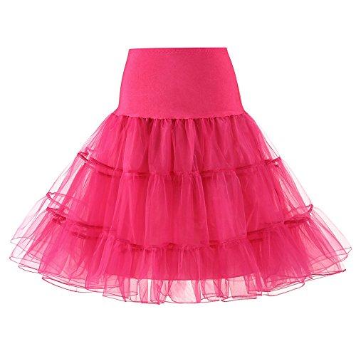 LULIKA Femmes Haute Qualit Haute Taille Pliss Jupe Courte Jupe Adulte Tutu Danse Rose Vif