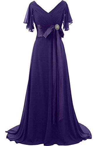 Abendkleid V Steine Violett Promkleid Aermel Schleife Ivydressing Damen Lang Ausschnitt Kurz Festkleid Mit Liebling BqwRAaU