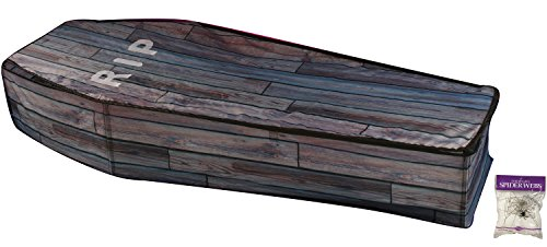 Bundle: 2 Items - Collapsible Coffin Wood Grain and Free Spider Web (Comes with Free How to Live Stress Free (Wood Coffin)