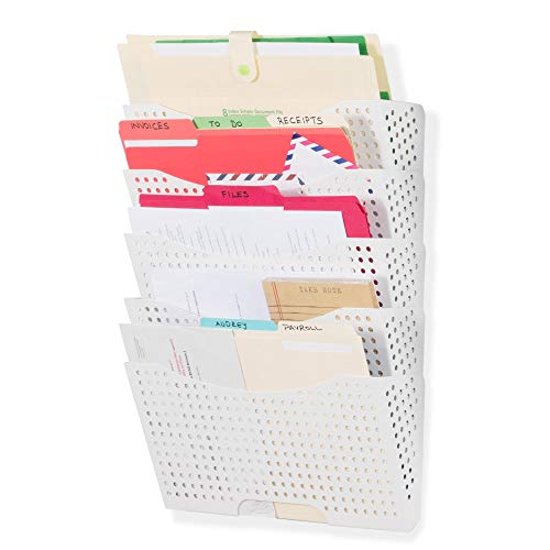 Wallniture Lisbon Wall Mount File Holder Organizer Metal Modern Modular Design Metal Storage Level Folders White Steel Durable Construction (5 Pack)
