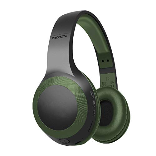Promate Wireless Headphone, Powerful Deep Bass Bluetooth v5.0 Headphone with MicroSD Playback, 3.5mm Wired Mode, Hi-Fi Stereo Sound, 5H Playtime, Built-In Mic and Control for Smartphones, LaBoca Green