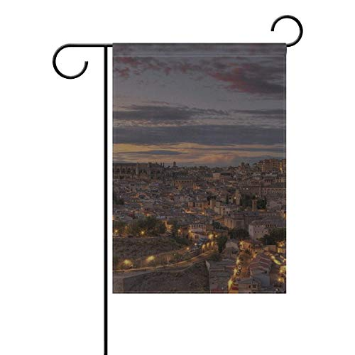 Dongingp Garden Flag Spain Toledo Lights Dusk HDR 12x18 Inches(Without Flagpole)]()