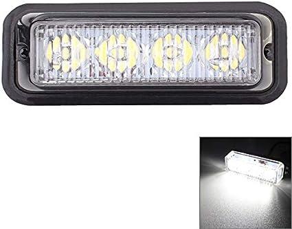 Iluminación Lámpara de señal de advertencia intermitente para el automóvil con luz intermitente para automóvil de MZ 12W 720LM 6500K 635nm 4-LED, blanca/roja, DC12-24V, Longitud del cable: 95 cm Ilu