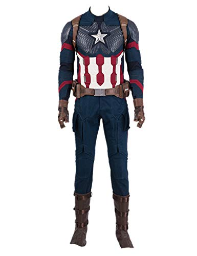 Superhero CA Costume Halloween Cosplay Full Set Battle Suit with Accessories L