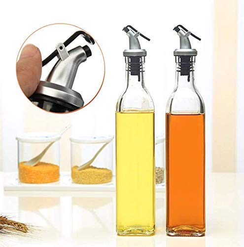 LDG Ware Glass Oil and Vinegar Storage Bottle Cruet Seasoning Set for Dining Table and Home and Kitchen Sauce Bottle Dispenser [500 ml + 500 ml ] (Transparent) Pack of 2 Price & Reviews