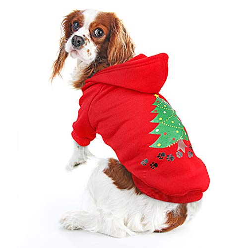 oneisall Dog Christmas Tree Hoodie Sweater Pet Puppy Shirts Costume Clothes Apparel for Halloween Christmas Holiday…