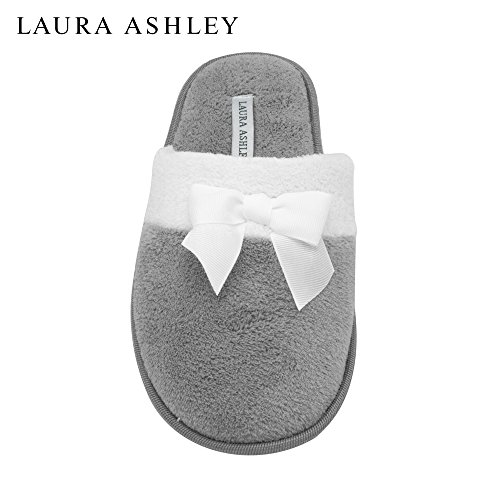 laura-ashley-ladies-terry-scuff-slipper-with-bow-heather-gray-size-m