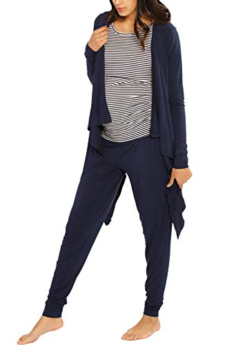 (Angel Maternity Maternity 3 Piece Relax Outfit: Nursing Shirt - Bamboo Cardigan - Bamboo/Cotton Blend Maternity Lounge Pants - Navy - X-Small)