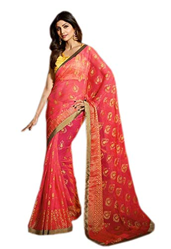 Used, Odhni Indian Pink Print zari Border and Tassel Pallu for sale  Delivered anywhere in USA