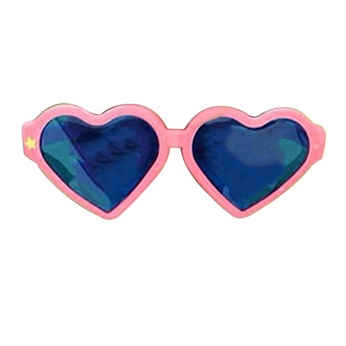 Kicode Heart Shaped Fashion Oversized Retro Sunglasses Blue Lens Cute Love Eyewear For Favor Photo Halloween - Shaped Glasses Shape Heart Face For