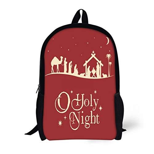 Pinbeam Backpack Travel Daypack Holy Christmas Nativity Scene Silhouette Family Manger Baby Waterproof School Bag]()