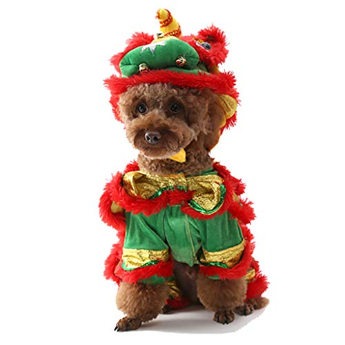 (Weite Pet Clothes, Funny Costume Dragon Dance Lion Dog Suit with Cap, Cute Warm Coat Clothing for Dog Girl Dog Boy)