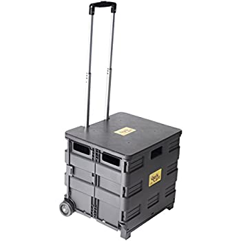 Quik Cart Two-Wheeled Collapsible Handcart with Black Lid Rolling Utility Cart with seat heavy duty lightweight