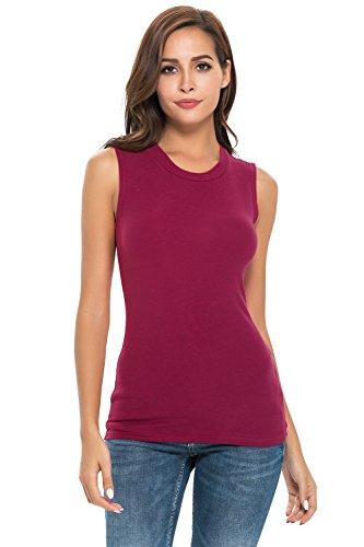 Women Sleeveless Mock Turtleneck/Crew Neck Pullover Plain Slim Fit T Shirt Top