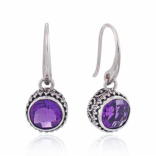 925 Sterling Silver Bali Vintage Round Purple Amethyst Dangle Earrings – Nickle Free