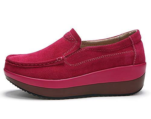 Donna Sportive Lovejin All'aria Aperta Scarpe Platform Sneakers Zeppa Loafers Fitness Mocassini Libero Tempo Rosso fqArAwd