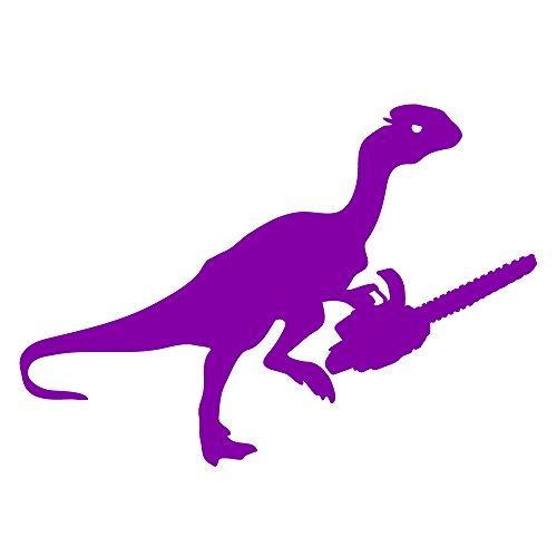 Auto Vynamics - DINOWEPS-CHAINSAW-3-GPUR - Gloss Purple Vinyl Dinosaur w/ Weapon Decal - Dino w/ Chainsaw Design - 3-by-2.125-inches - (1) Piece Kit - Single (Auto Chainsaw)