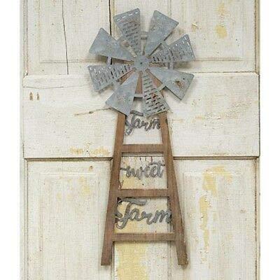 (KLNY16 New Rustic Farmhouse Galvanized Farm Sweet Farm Wind Mill Wall Hanging Sign)