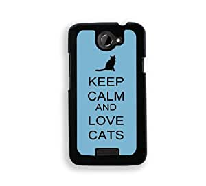 Keep Calm And Love Cats - Coral Floral - Protective Designer BLACK Case - Fits HTC One X / One X+