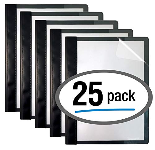 Poly Binder Flat - Ultra Durable Clear Front Report Covers, 25 Per Box, Letter Size, Black, Poly Back Cover, with Fasteners, Lay Flat, by Better Office Products, Box of 25