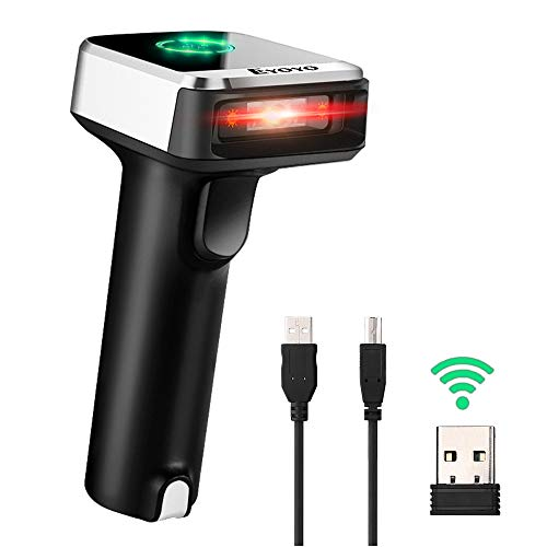Eyoyo Bluetooth Barcode Scanner, Compatible with Bluetooth Function & 2.4GHz Wireless & Wired Connection CCD Bar Code Reader for iPad, iPhone, Android Phones, Tablets or Computers, PC with USB Receive