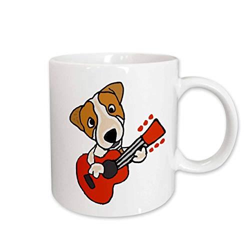 3dRose All Smiles Art Music - Funny Cute Jack Russell Terrier Puppy Dog Playing Guitar - 15oz Mug (mug_256479_2)