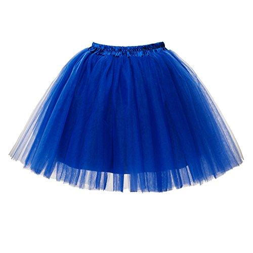 PerfectDay Women's Mini Tutu Ballet Multi-layer Ruffle Frilly Petticoat Skirt Royal Blue