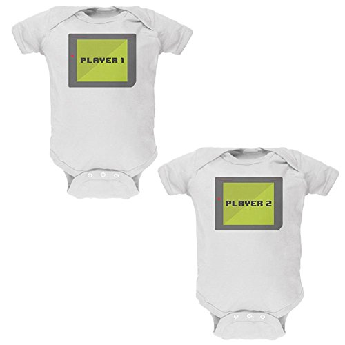 Old Glory Halloween Twins Player 1 and 2 Costume Soft Twins Baby One Piece White 3-6 M