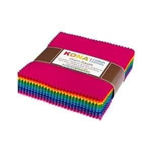 Kona Cotton Bright 101 Palette Charm Square 101 5-inch Squares Charm Pack Robert Kaufman CHS-564-101