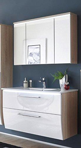MIAMI Badezimmer Set Komplettset Badmöbel Eiche Sonoma / Weiß