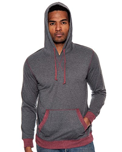 True Rock Men's Lightweight Pullover Hoodie-Charcoal/Burgundy (Grey And Burgundy)