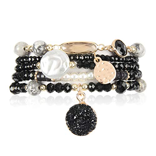 RIAH FASHION Bohemian Versatile Multi-Layer Bead Statement Bracelet - Stretch Strand Stackable Cuff Bangle Set Sparkly Crystal, Acrylic Druzy, Pave Fireball (Acrylic Druzy Dangle & Jewel Mix - Black)