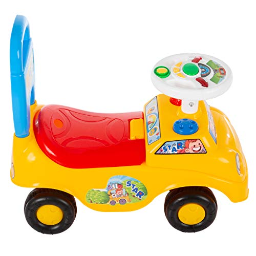 41SeSm1FqRL - Lil' Rider Ride On Activity Car- Toy Rideon Push Walking Car with Steering Wheel, Lights, Sounds, Music for Babies, Toddlers Learning to Walk