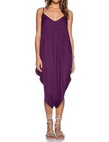 May&Maya Women's V Neckline All In One Beach Jumpsuit (S, Purple Short)