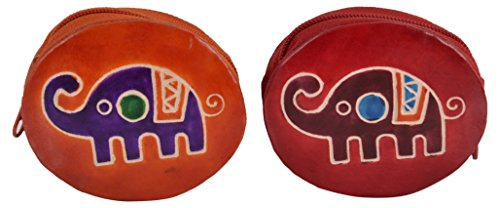 SAAGA Set of 2 Hand Painted Leather Coin Bags, Jewelry Trays / Handmade : 3.25x3.25x1 (LxBxH) (Leather Painted)