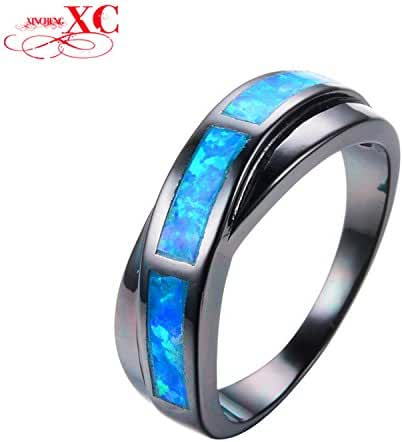 Cherryn Jewelry Vintage Black Gold Filled Blue Fire Opal Ring Wedding Bands Jewelry Female Classic Cross Cocktail Ring RB0808