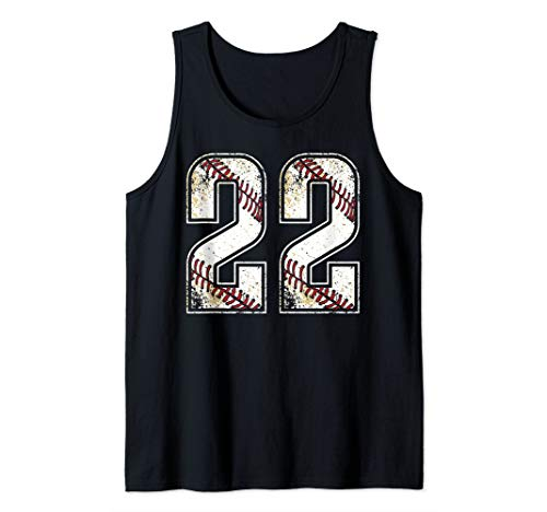 (#22 Baseball Jersey Number 22 Vintage Retro Birthday Gift Tank Top)