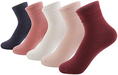 SUNBVE Baby Toddler Little Big Girls Kids Cotton Crew Socks 5 Pack Gift Set