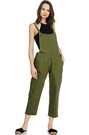 Alexander + David A+D Womens Causal Twill Strap Bib Overalls Jumper W/Pockets (Olive, X-Small)