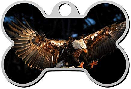 VinMea Brave Eagle Soar Pet ID Tag Personalised,Bone Dog Tag,Pet ...