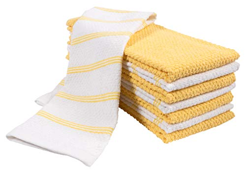 (KAF Home Pantry Piedmont Terry Kitchen Towels | Set of 8, 16 x 26 inch, Absorbent Terry Cloth Dish Towels, Hand Towels, Tea Towels | Perfect for Kitchen Spills, Cooking, and Messes - Sunshine Yellow)