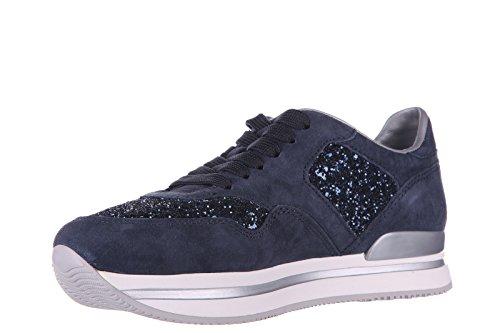 Hogan chaussures baskets sneakers femme en daim h222 glitter blu