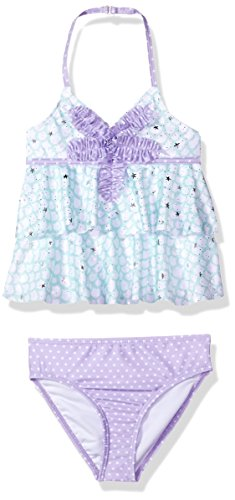 Jantzen Big Girls' Mermaid Ruffle Tankini Swimsuit, Purple, 12