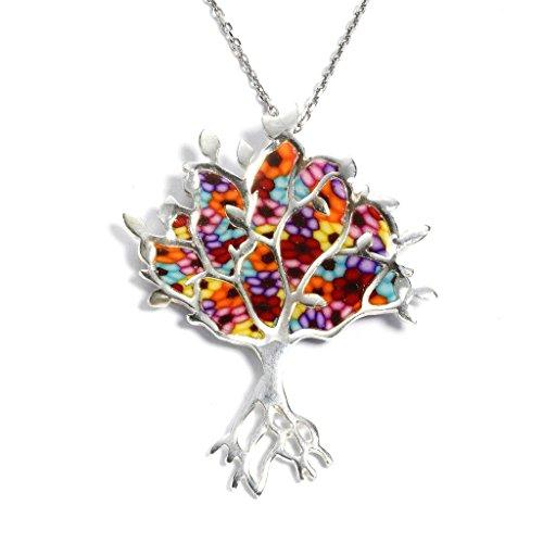 Pendentif Arbre de Vie Millefiori- Bijoux Symbolique - Collier de designer très travaillé - Cadeau original pour elle