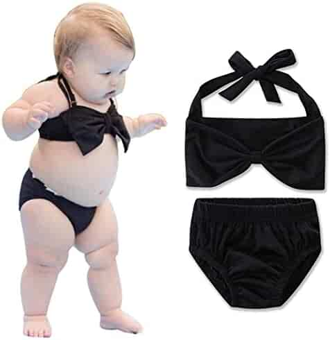 0329db735b584 ChainSee Baby Girls Fashion Two Piece Bikini Swimwear Swimsuit Bow Swimming  Cosutme Bathing Suit