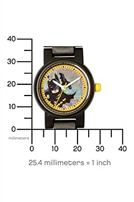 Lego Batman Movie 8020837 Batman Kids Minifigure Link Buildable Watch | Black/Yellow | Plastic | 25mm case Diameter| Analog Quartz | boy Girl | Official by LEGO CLOCKS WATCHES